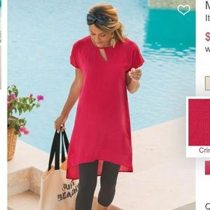 Soft Surroundings Moderne Gauze Red Tunic M